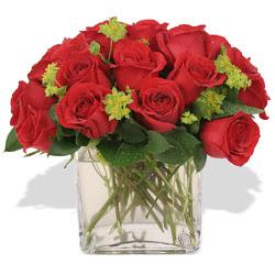İzmit uluslararası çiçek gönderme  10 adet kirmizi gül ve cam yada mika vazo