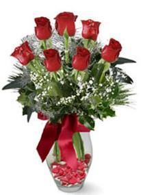 İzmit yurtiçi ve yurtdışı çiçek siparişi  7 adet kirmizi gül cam vazo yada mika vazoda