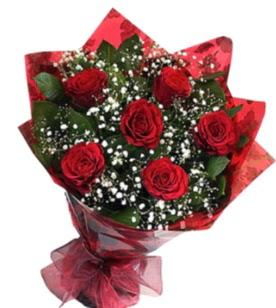 6 adet kırmızı gülden buket  İzmit internetten çiçek satışı