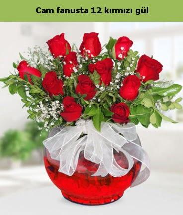 Cam içerisinde 12 adet kırmızı gül  İzmit kaliteli taze ve ucuz çiçekler