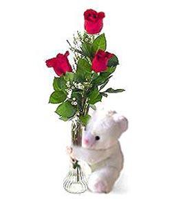 oyuncak ve 3 adet gül  İzmit çiçek mağazası , çiçekçi adresleri
