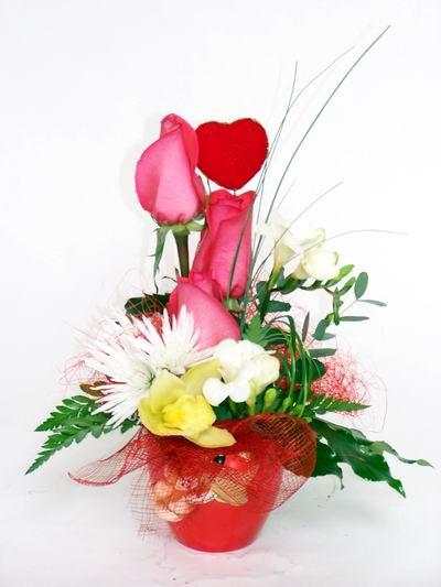 İzmit hediye sevgilime hediye çiçek  cam içerisinde 3 adet gül ve kir çiçekleri