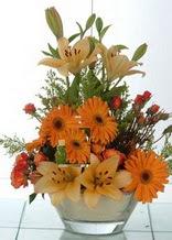 İzmit ucuz çiçek gönder  cam yada mika vazo içinde karisik mevsim çiçekleri