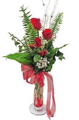 Çiçek gönderin cam vazoda 3 gül çiçekleri  İzmit çiçek mağazası , çiçekçi adresleri