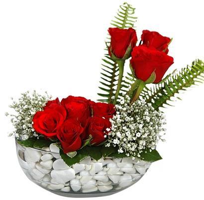 cam içerisinde 9 adet kirmizi gül  İzmit online çiçekçi , çiçek siparişi