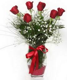 7 adet gülden cam içerisinde güller  İzmit çiçek gönderme