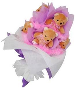 9 adet ayiciktan buket  İzmit çiçek satışı