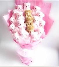 17 adet pelus ayicik buketi  İzmit çiçek siparişi vermek