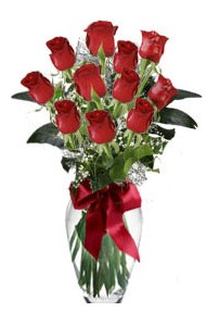 11 adet kirmizi gül vazo mika vazo içinde  İzmit çiçek gönderme
