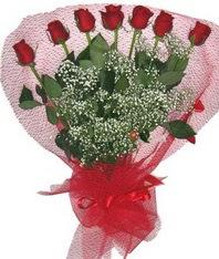 7 adet kipkirmizi gülden görsel buket  İzmit hediye çiçek yolla