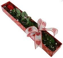 Tek kirmizi gül kutu içerisinde  İzmit çiçek siparişi sitesi