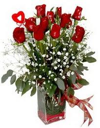 İzmit online çiçekçi , çiçek siparişi  9 adet mika yada cam vazoda gül tanzimi kalp çubuk