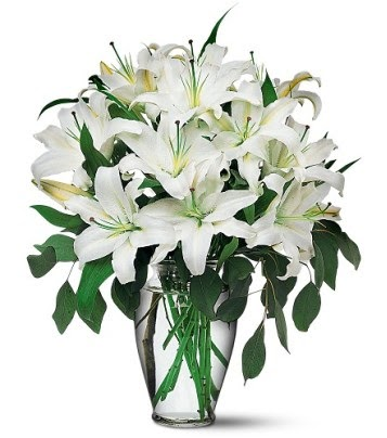 İzmit kaliteli taze ve ucuz çiçekler  4 dal kazablanka ile görsel vazo tanzimi