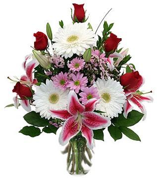 İzmit hediye çiçek yolla  1 dal kazablanka 5 gül ve kırçiçeği vazosu