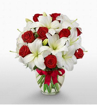 İzmit çiçek online çiçek siparişi  1 dal kazablanka 11 adet kırmızı gül vazosu