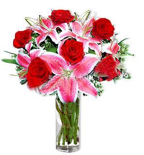 İzmit cicek , cicekci  1 dal cazablanca ve 6 kırmızı gül çiçeği