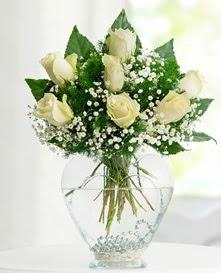 Cam içerisinde 7 adet beyaz gül  İzmit çiçek gönderme sitemiz güvenlidir