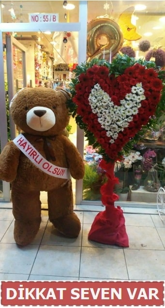 1.5 Metre peluş ayı ve Kalp  İzmit online çiçek gönderme sipariş