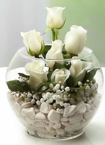 Beyaz Mutluluk 9 beyaz gül fanusta  İzmit çiçek mağazası , çiçekçi adresleri