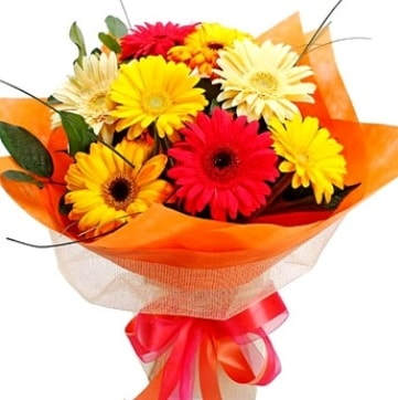 9 adet karışık gerbera buketi  İzmit anneler günü çiçek yolla