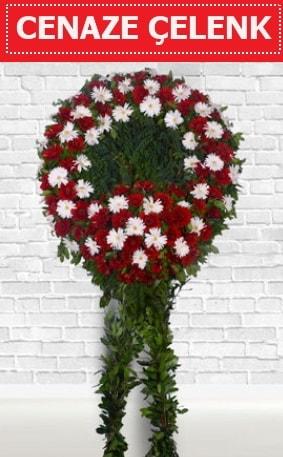 Kırmızı Beyaz Çelenk Cenaze çiçeği  İzmit çiçek siparişi vermek