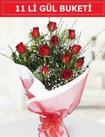 11 adet kırmızı gül buketi Aşk budur  İzmit online çiçek gönderme sipariş
