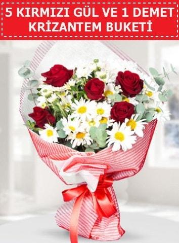 5 adet kırmızı gül ve krizantem buketi  İzmit 14 şubat sevgililer günü çiçek