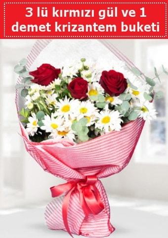 3 adet kırmızı gül ve krizantem buketi  İzmit online çiçek gönderme sipariş